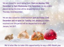 Christmas Opening Hours & Annual Stock Take