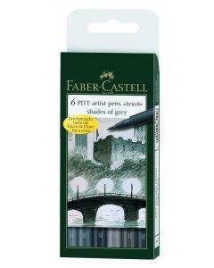 Pitt Artbrush Pens Pack of 6 Grey Shades [44641]