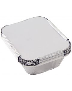 Foil Containers with Lids Pack of 100, 24 x 24 x 3.5cm [7885]