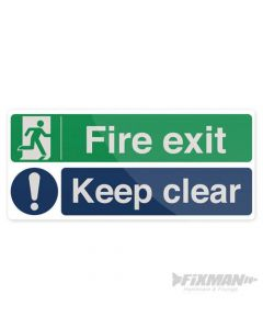 Fire Exit Keep Clear Sign 450 x 200mm Self Adhesive [45234]
