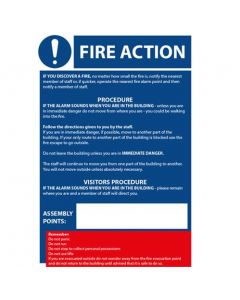 Fire Action / COSHH Golden Rules Sign A5 Laminated [45181]