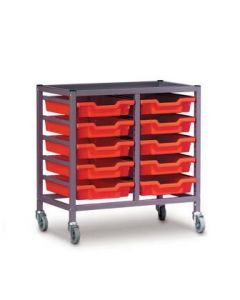 Gratnells 2025R Double Trolley Set with 10 Shallow Trays [3290]