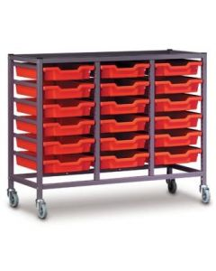 Gratnells 3025N Treble Trolley Set with 18 Shallow Trays [3292]