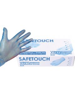 Disp. Gloves Powdered Blue Vinyl Box of 100 Medium [0430)